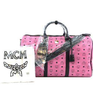 MCM Duffle Logo Pink Coated Canvas Weekend Bag